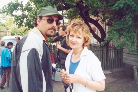 Кирилл Серебренников, Галина Пилипенко, на заднем плане - оператор Геннадий Божко. г. Таганрог июнь 2002 год