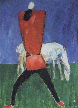 Казимир Малевич.Человек с лошадью. Около 1932
