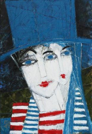 Anna TARASENKO Travel In the Blue Top Hats 75*90см