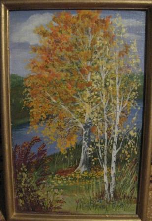 Сусанна Вольвич.Осенний пейзаж 21х33. картон,масло 2003. 500руб.
