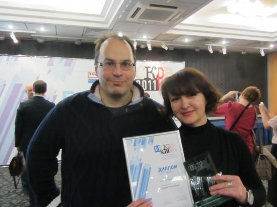 Эльдар Муртазин, главный редактор mobile-review.com, известный блогер, ведущий аналитик Mobile Research Group, кандидат экономических наук, писатель и Галина Пилипенко, тележурналист и блогер