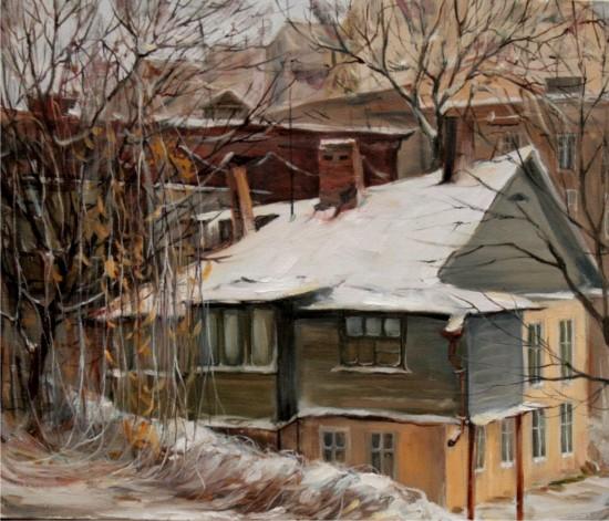 Теплая зима.х.м.60х50.2008. выставка  Лены Лапко и Инны Федоровой