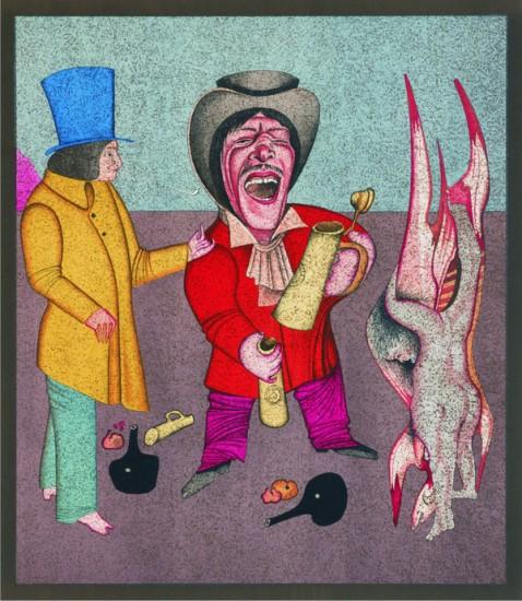 Оригинальная литография из серии «Карнавалы Санкт-Петербурга»,  1980-е гг. Михаил Шемякин
