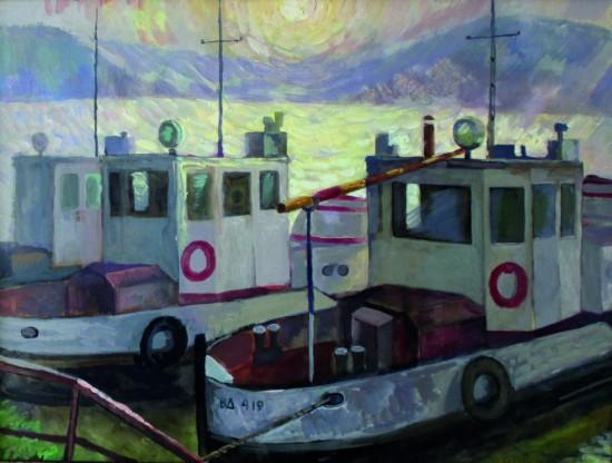 В.Кульченко.Рабочие катера. Картон, масло, 70х98. 1976 г.