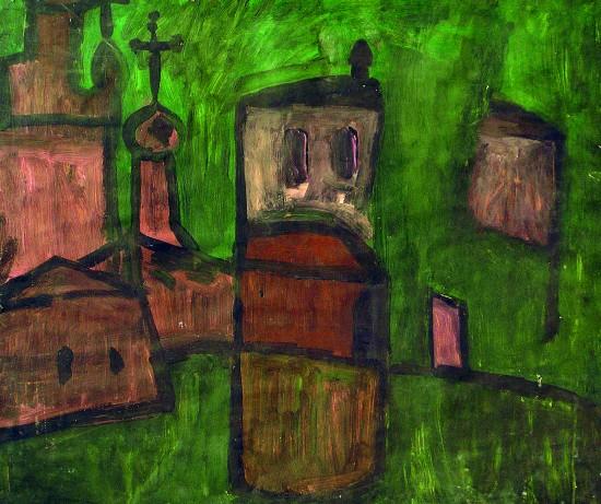 Валерий Кульченко. Отражение. Картон, темпера, 50х60, 1970
