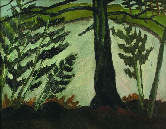 Валерий Кульченко. Ель у озера. Х., м. 70х100. 1973 год