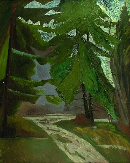 Валерий Кульченко. Дорога в лесу. Картон, масло. 100х70. 1973 г