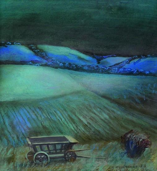 """Валерий Кульченко. """"Ночью выпал первый снег..."""" Бумага, пастель, 50х55, 1987"""