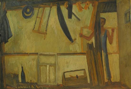 Валерий Кульченко. Столярная мастерская. Эскиз.Картон, темпера, 60х80, 1973 год