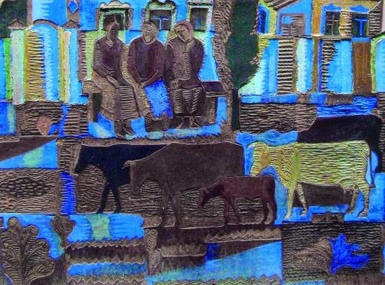 Валерий Кульченко. Возвращение стада. Рельеф. Резьба по линолеуму. Роспись. 80х140. 1985 год
