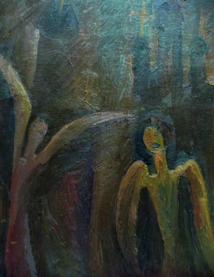 Валерий Кульченко. Ангелы, картон, масло, 60х50 см,1987г.