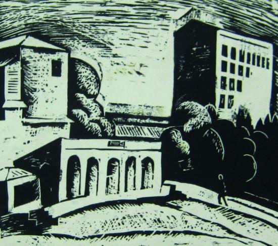 Валерий Кульченко. Городской пейзаж,линогравюра, 13х15см