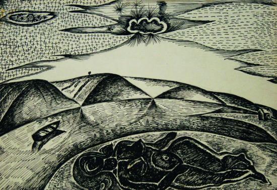 Валерий Кульченко. На берегу реки, бумага, тушь, перо, 21х29,5 см, 1973г.