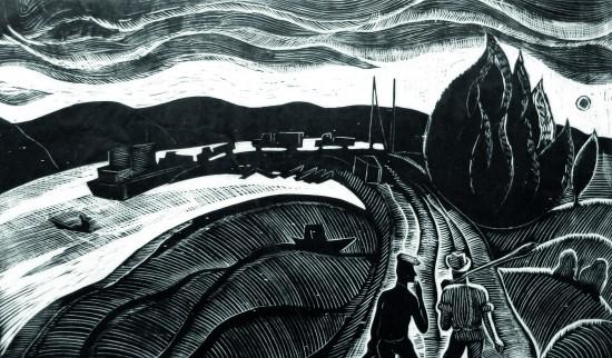 Валерий Кульченко. Рыбаки. Лин., 37х50. 1973 год