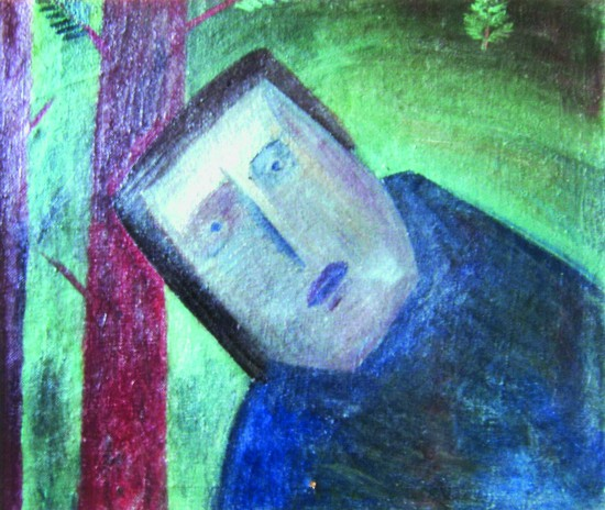 Валерий Кульченко. Жданов в подмосковном лесу. Х., м. 70х83. 1973 год