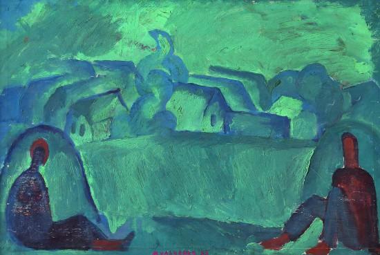 Валерий Кульченко. На сенокосе. Х., м. 40 х 50. 198 год
