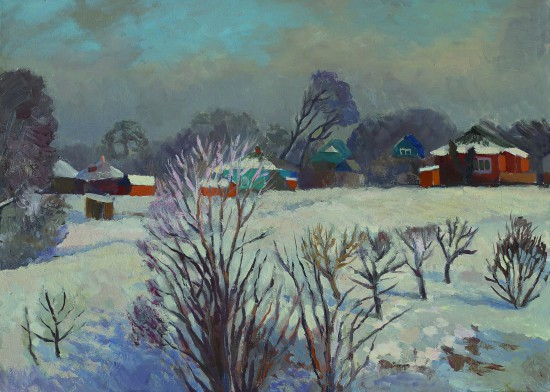 Валерий Кульченко. Зима в Ольгинской. Х., м. 50 х70, 2009 г.
