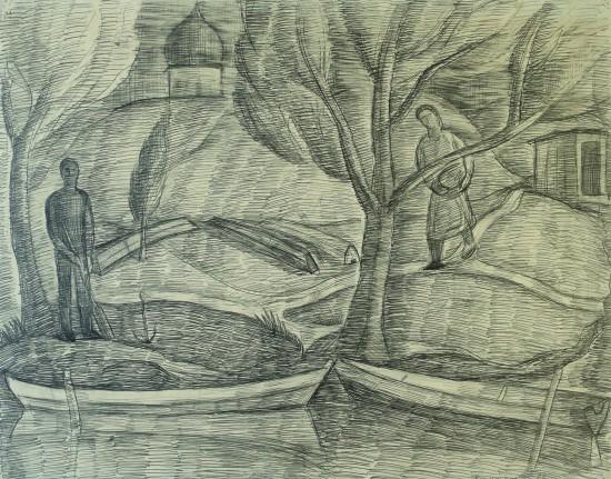 Валерий Кульченко. Встреча в Переяславль-Залесском. Бумага, карандаш. 60х80. 1975
