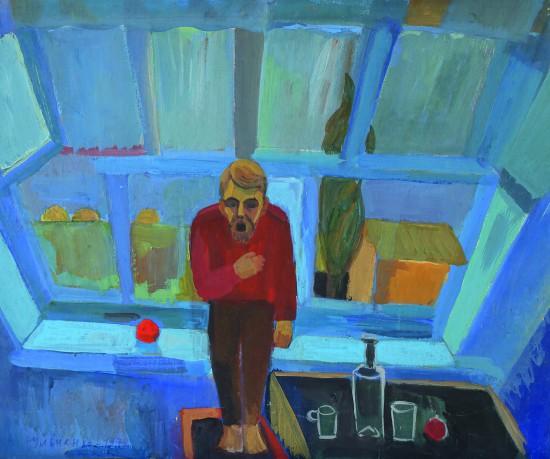 Валерий Кульченко. Песня.Картон, темпера.50х70. 1980