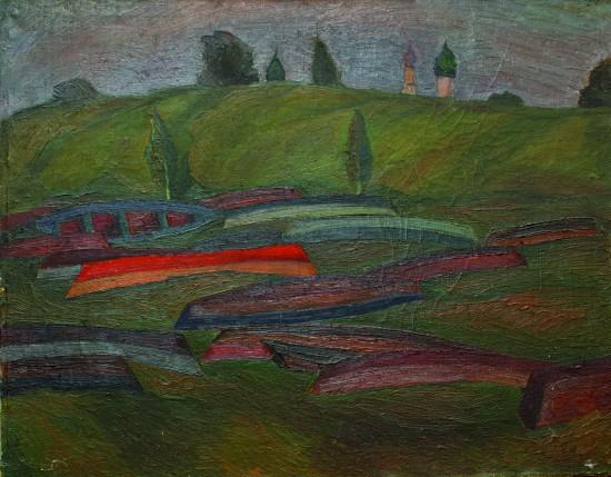 Валерий Кульченко. Лодки на берегу реки Трубеж. Х.,м. 65х87. 1975 г.