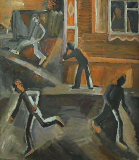 Валерий Кульченко. Игра в кулючки. Хост, масло. 100 х 80. 1973 год
