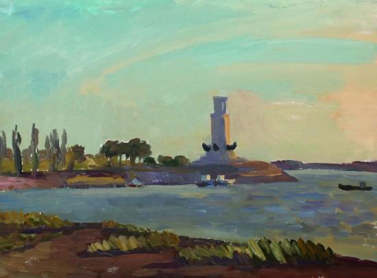 Маяк. Волга-Дон. Картон, масло, 40х52, 2009