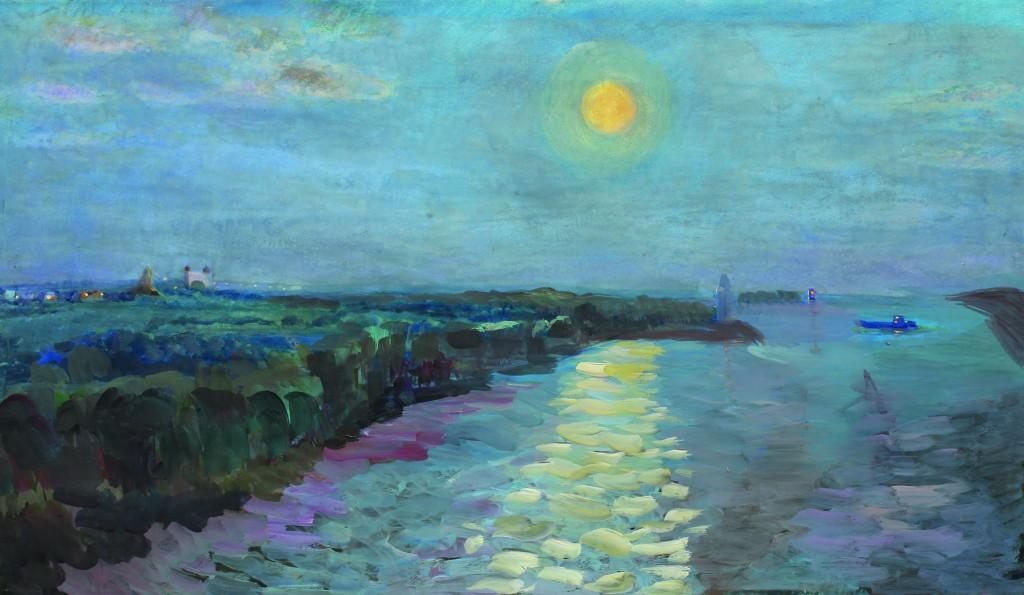 Валерий Кульченко. Луна над Волго-Доном. К., темпера, 45 х 80, 1986 - 2009 г.