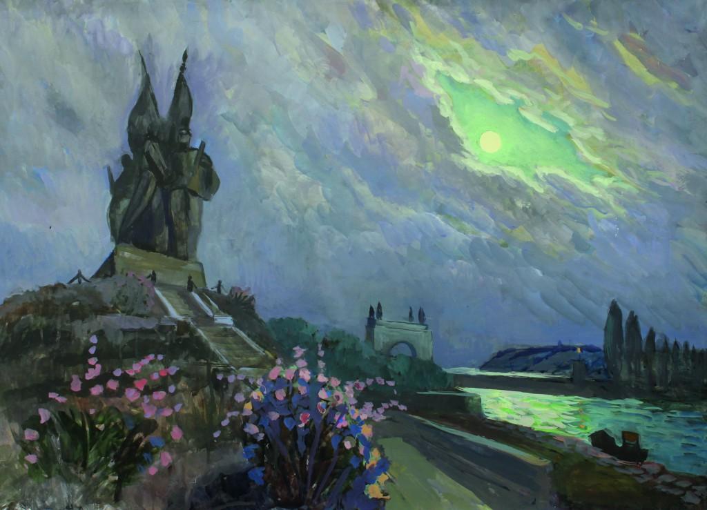 Валерий Кульченко. Луна над Волго-Доном. 13-й шлюз. Бумага, темпера. 60х80, 2003 г.
