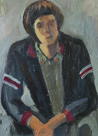 Валерий Кульченко. Поклонник БИТЛЗ. (этюд). К.,м. 40х 30. 1977 год