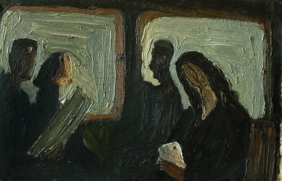 Валерий Кульченко. В электричке. К.,м. 15х 35. 1977 год