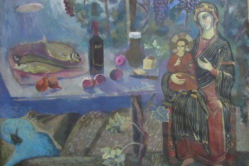 Валерий Кульченко. Мадонна в винограднике. 78 х 60. Бумага, акрил.(1974 год)