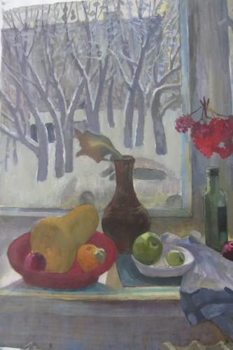 Валерий Кульченко. Зимнее окно - 2. 80х60. Бумага, акрил. (2015 год)