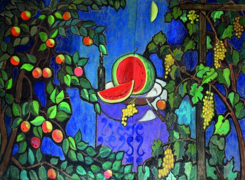 Валерий Кульченко. Август. Натюрморт с арбузом. Текстиль, акрил. 180х50. 2012 год. Публикуется впервые.