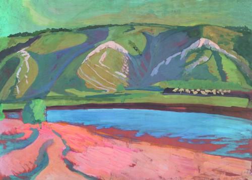 Валерий Кульченко. Красный песок. Цветная бумага, темпера. 60х80. 1987 год. Публикуется впервые