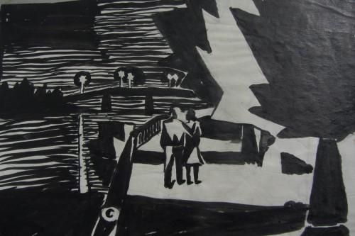 Валерий Кульченко. Ночная прогулка. Набережная. 1966 г.