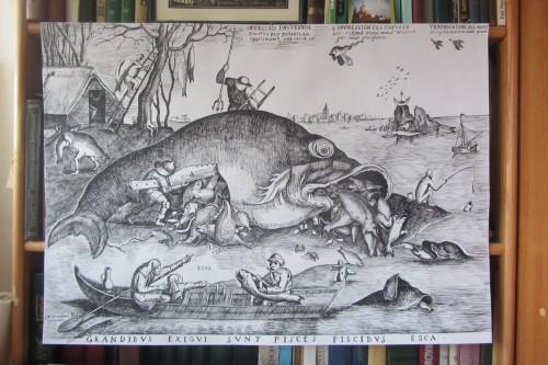 """Питер Брейгель (Мужицкий) """"Большие рыбы пожирают меньших"""". Гравюра на меди. ХVI век. Рисовал Валерий Кульченко. Бумага, тушь, перо. 50х70. 2015 год."""