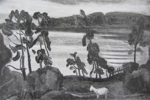 """Валерий Кульченко. """"Лесное озеро. Пейзаж с козой"""". Х.,М. 60х85, 1980 г. Академическая дача. Вышний Волочок."""
