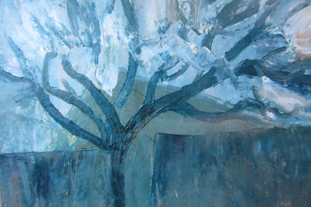 Валерий Кульченко. Цветущее дерево в Искрянском переулке. 1965 год. 30 х 40, картон, масло