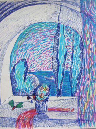 """Валерий Кульченко. Тополя и букет на левом берегу. На даче. 1979 г.Бумага, ручка, фломастер. 20 х 17. Правая часть триптиха """"Ангелы Саши Кайдановского""""."""