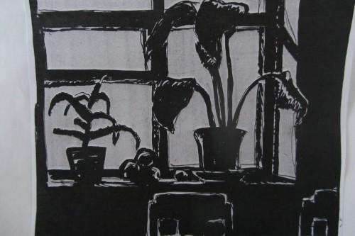 Валерий Кульченко. Цветы на окне. 1964. Тушь, бумага.