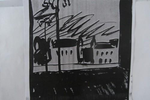 Валерий Кульченко. Городской пейзаж. 1963. Тушь, кисть.