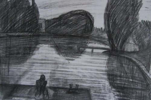 Валерий Кульченко. Вечер. У пруда. 1966. Бумага, карандаш. 30 х 40