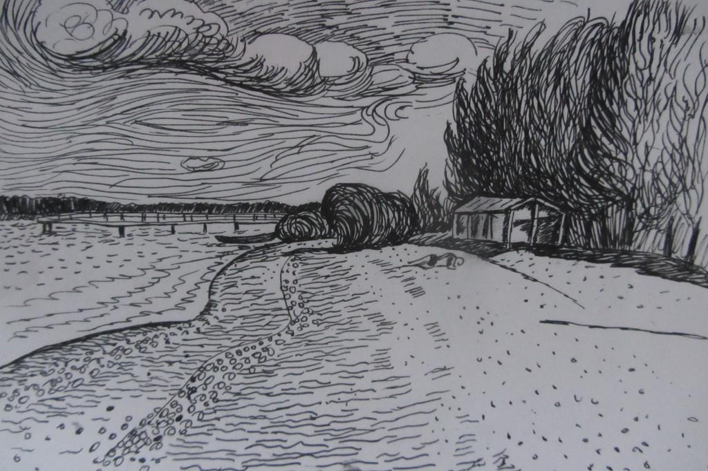 Валерий Кульченко. Левый берег. ростовский пляж. 1963 г. Бумага, тушь, перо. 21 х 29, 5