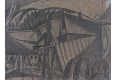 Валерий Кульченко. Художник в станице. Эскиз. 1967 год. Бумага, карандаш, 25 х 19, 5