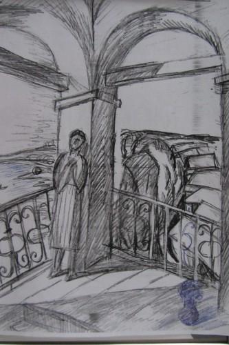 """Валерий Кульченко. Утро в Переяславле- Залесском. Эскиз к картине """"Голубое утро"""" . 1975 год. Бумага, карандаш, 28 х 21"""