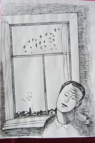 Валерий Кульченко. 1980. Калач-на-Дону, повтор рисунка 1874 года. Ростов-на-Дону. Бумага. Тушь. Перо.