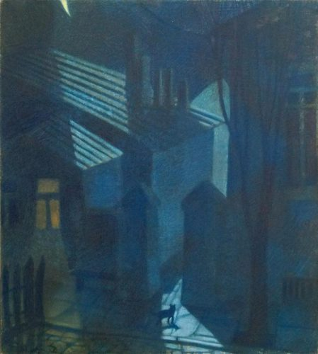 художник Виктор Сетунов. НОЧНОЙ ГОРОД. 1993 год. Картон, пастель. 50х40см.Синяя ночь