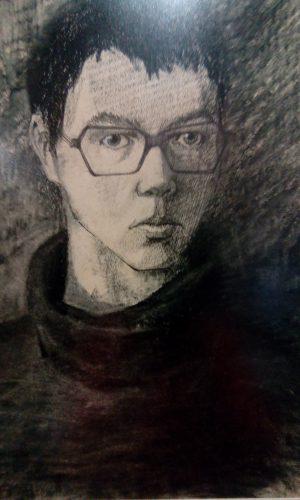 Василий Слепченко. Автопортрет. Бумага, уголь, 41х27, 1981