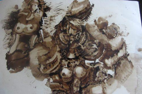 Игорь Курков. Рыцарь и обнажённая. 2012 год. Картон, цветная тушь, перо, процарапывание.
