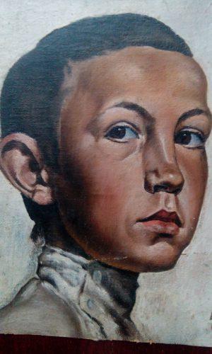 Автопортрет Виктора Баринова, написанный им в 13 лет